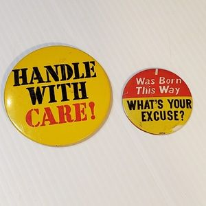 Vintage Novelty Pins Handle with Care